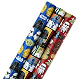 Hallmark Star Wars Wrapping Paper with Cut Lines (Pack of 3, 105 sq. ft. ttl.) for Birthdays, Christmas or Any Special Occasion: more info