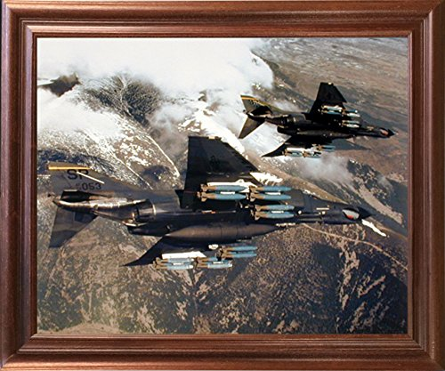 Impact Posters Gallery Aviation Framed Poster - F-4E Phantom with Missiles Jet Vintage Military Aircraft Wall Decor Mahogany Picture Art Print ()