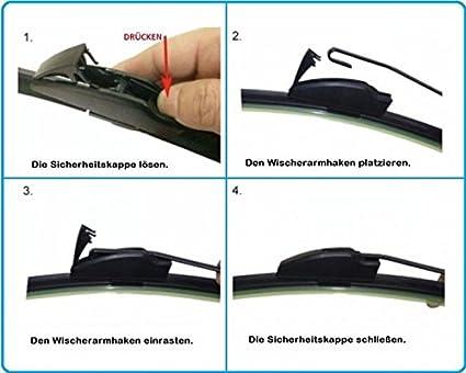 500mm 500mm Good Wiper Aero Front Scheibenwischer Flachbalkenwischer Hakenbefestigung Wischerblätter Set Frontscheibe Blätter Satz Inion Auto