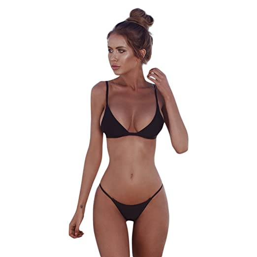 6177dda4c0235 Amazon.com  2019 Latest Hot Style! Teresamoon Women Bandeau Bandage Bikini  Set Push-Up Brazilian Swimwear Beachwear Swimsuit  Clothing