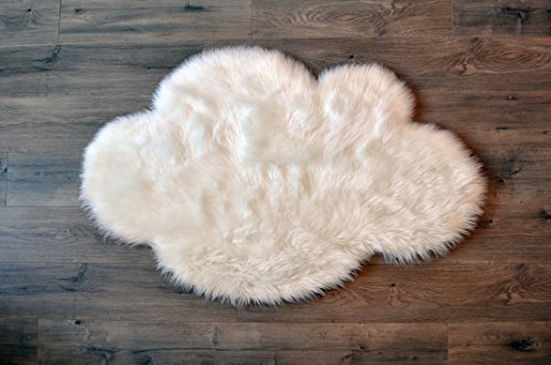 3' Dust Brush - Machine Washable Faux Sheepskin White Cloud Area Rug 32