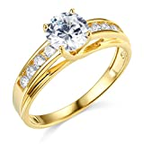 14k Yellow Gold SOLID Wedding Engagement Ring - Size 7.5