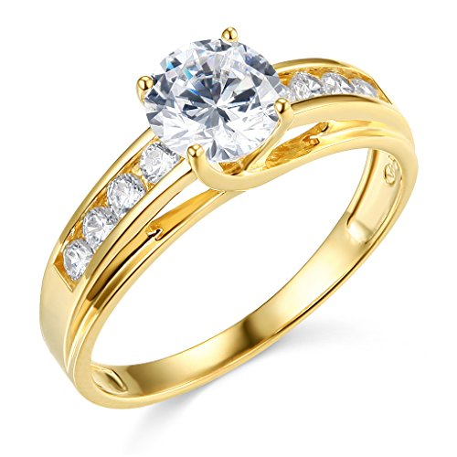 TWJC 14k Yellow Gold Solid Wedding Engagement Ring - Size 8 (Best Affordable Engagement Rings)