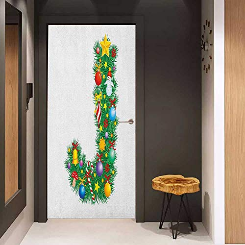 Door Sticker Letter J Capital J with Christmas Celebration Items Colorful Balls Candy Snowman Design Glass Film for Home Office W32 x H80 Multicolor (Snowman Christmas Jewels)