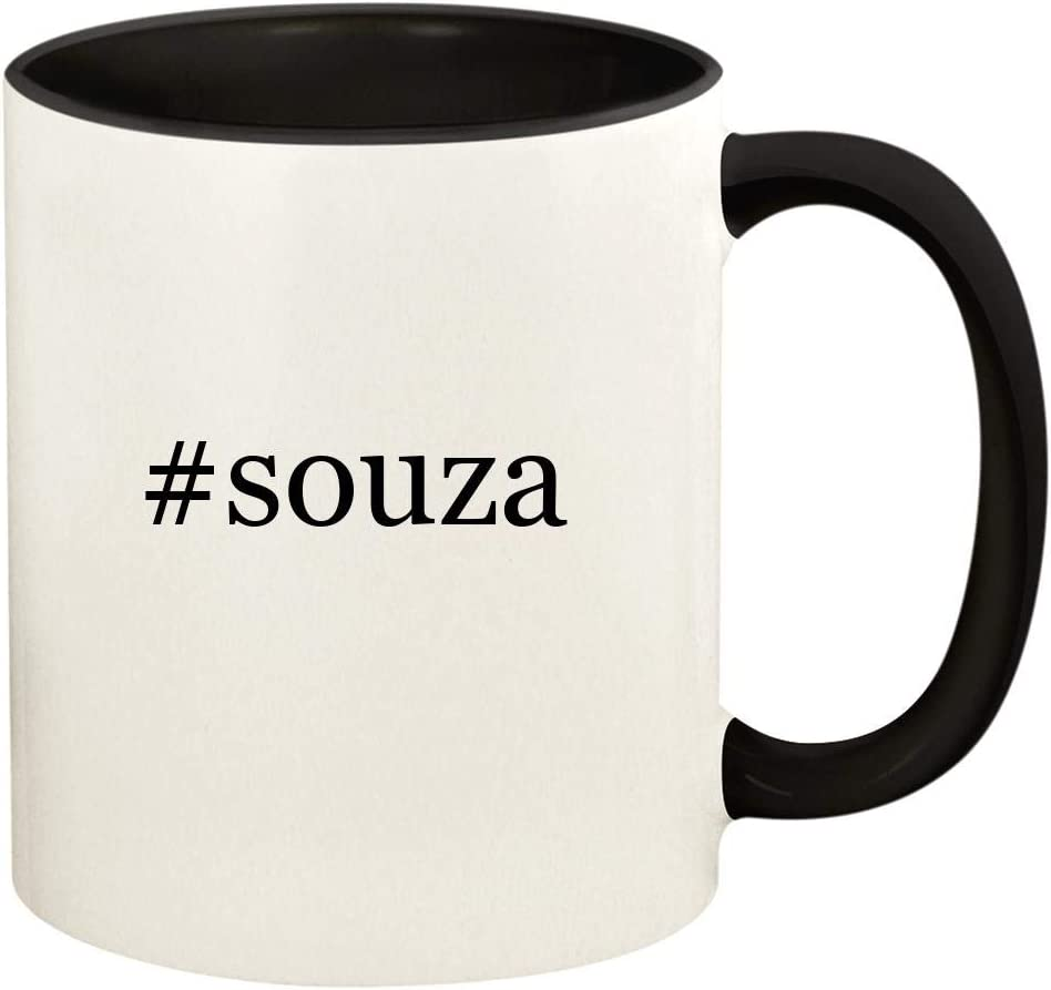#souza - 11oz Hashtag Ceramic Colored Handle and Inside Coffee Mug Cup, Black 515Y2BghhnLL