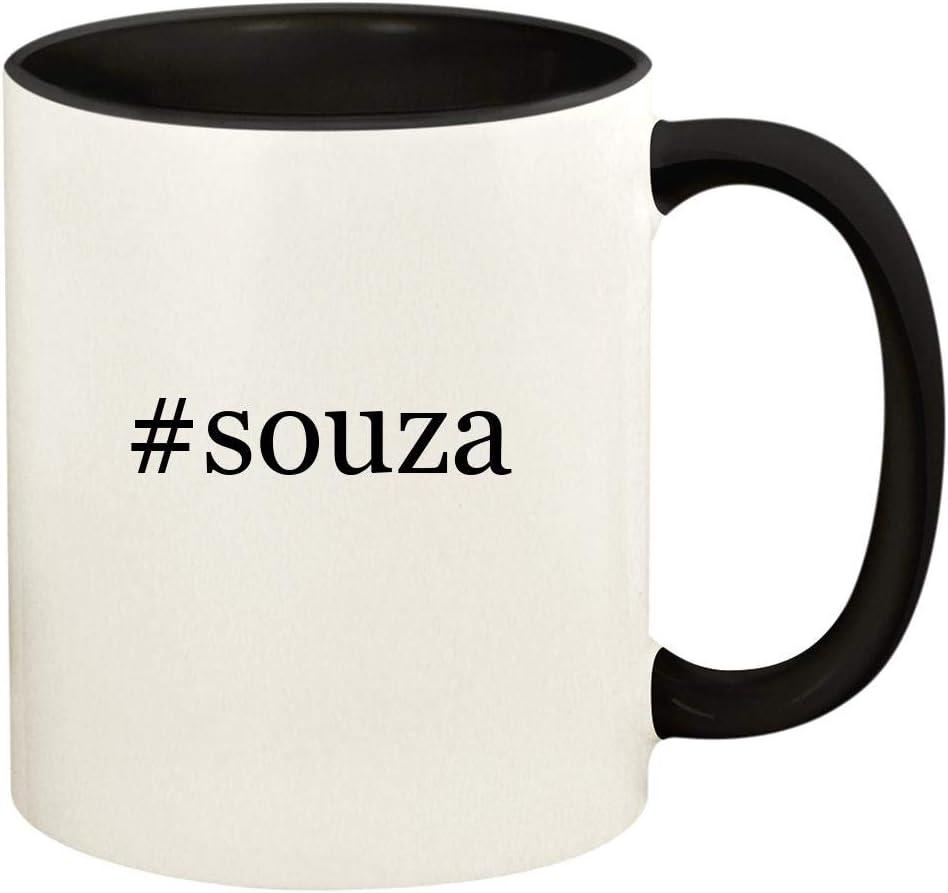 #souza - 11oz Hashtag Ceramic Colored Handle and Inside Coffee Mug Cup, Black