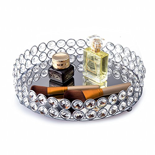 - Feyarl Crystal Beads Cosmetic Round Tray Jewelry Organizer Vanity Tray Mirrored Decorative Tray for Home Perfume Skin Care (9 x 9 x 1.57 inches) (Silver)