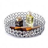 Feyarl Crystal Beads Cosmetic Round Tray Jewelry Organizer Tray Mirror Finished Decorative Tray (Silver)