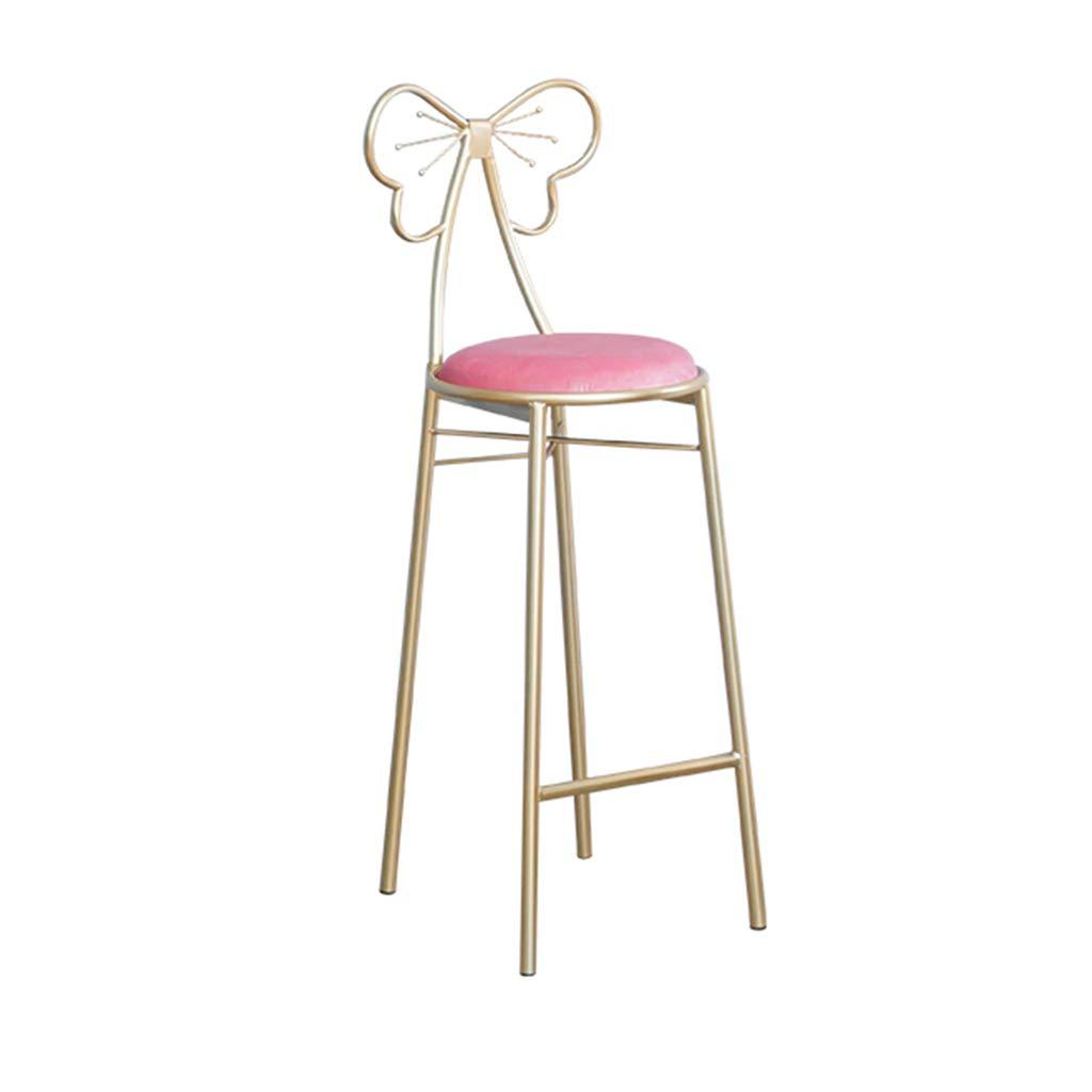 75CM Household Makeup Chair,Creative Butterfly Tie Bar Stool gold Iron Art High Stool Front Desk Armchair Leisure Reading Chair,75CM