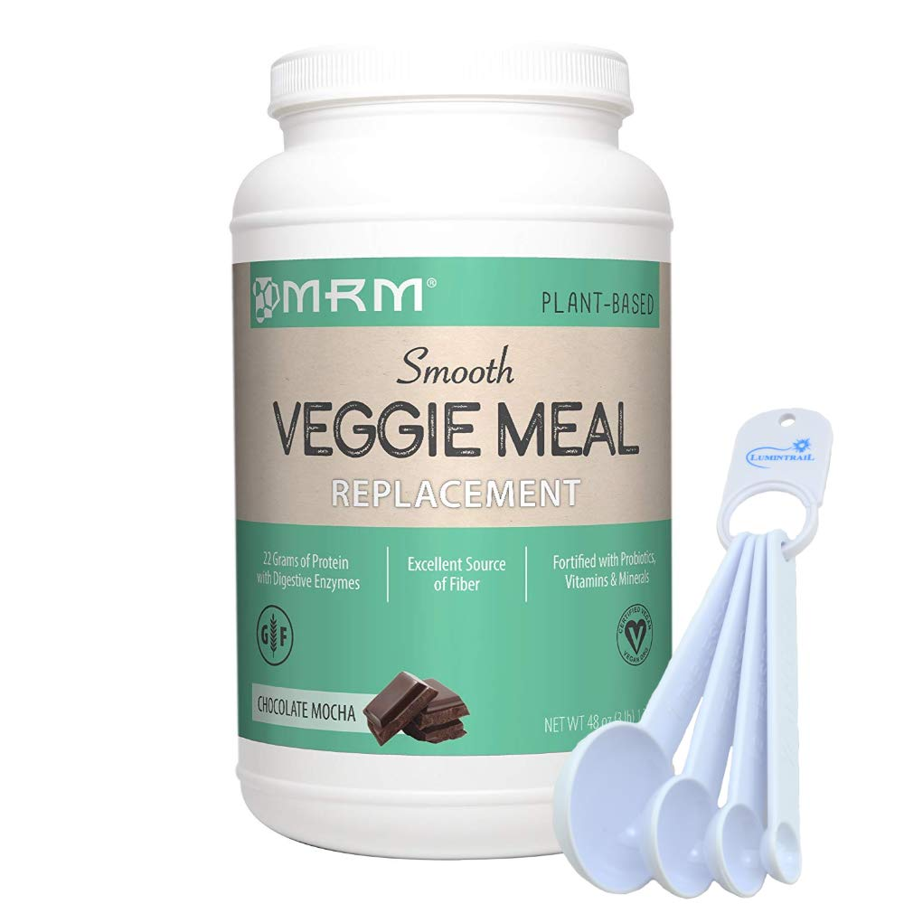 MRM Veggie Meal Replacement, Vegan, Vegetarian, Gluten Free, Non-GMO Verified, Chocolate Mocha, 3 lbs Bundle with a Lumintrail Measuring Spoon Set by MRM