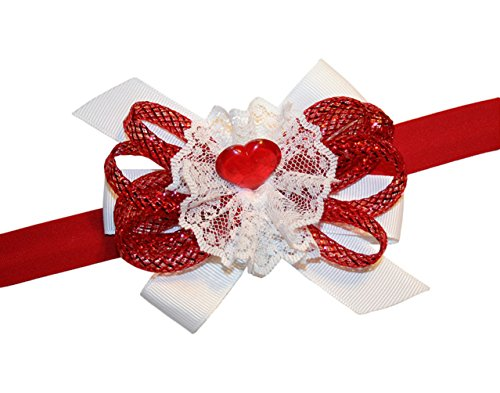Webb Direct 2U Baby Girls Standing Red Heart Lace Valentines Bow Headband 9001HB