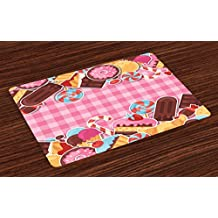 Ambesonne Ice Cream Place Mats Set of 4, Candy Cookie Sugar Lollipop Cake Ice Cream Girls Design, Washable Fabric Placemats for Dining Room Kitchen Table Decor, Baby Pink Chestnut Brown Caramel