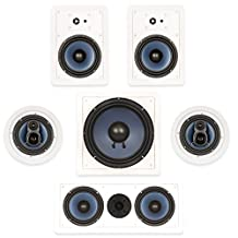 """Blue Octave In Wall and In Ceiling 5.1 Home Theater 6.5"""" Speaker Set New 1860 Watts RHT635"""