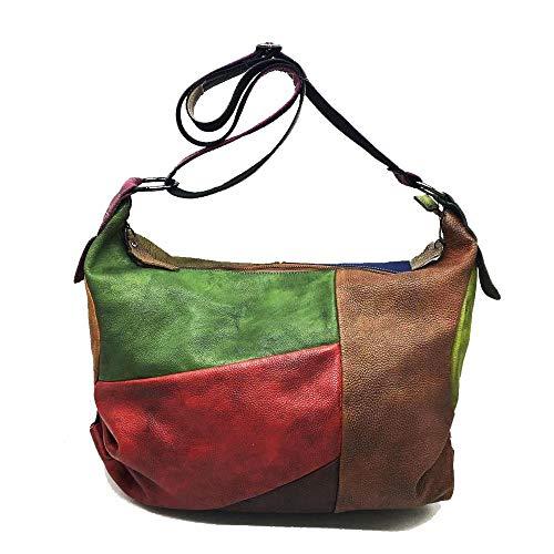 JBAG-one Vintage Genuine Leather Messenger Bag,Women Color Patchwork Hobo Shoulder Bag,Large Capacity Crossbody Bag,Black ()