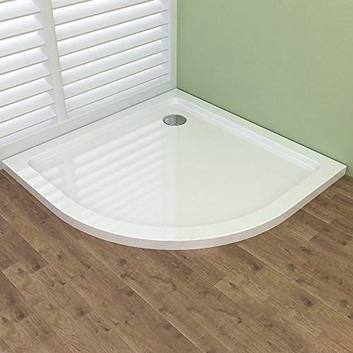 Right Rear Drain - Corner Shower Base 35.43 x 35.43 Inch, Rear Center Drain Shower Tray, Scratch and Stain Resistant Arylic Material with Fiberglass Reinforcement