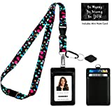 Bubbly Color Dots Print Lanyard with PU Leather ID Badge Holder Wallet with 3 Card Pockets, Safety Breakaway Clip, Note Card. Gift of Carabiner Keychain Flashlight. Lanyard for Cruise or Work