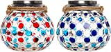 GreenLighting 2 Pack Dotted Solar Jar Light - Decorative LED Glass Table Lantern by (Dark & Light Blue/Red)