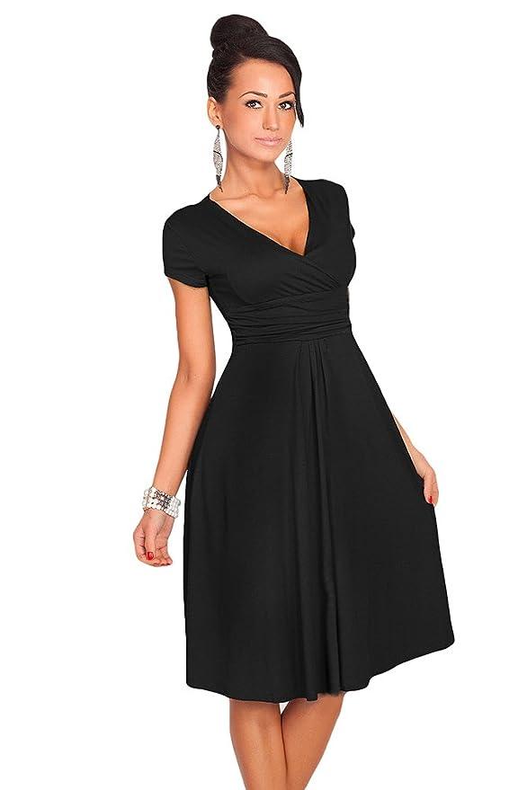 ... Kurze ärmel Tiefer V Ausschnitt Empire Taille Swing Kleid Knielang Mid  Kleider In A Form Partykleid Cocktailkleid Schwarz 2XL  Amazon.de   Bekleidung bde66ca77d