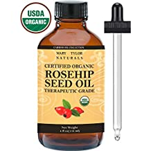 Mary Tylor Naturals Organic Rosehip Seed Oil Large 4 oz, USDA Certified, Cold Pressed, Natural Moisturizer For Face Skin Hair and Nails, Therapeutic Grade, 100% Pure Rose Hip oil