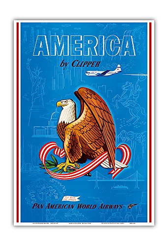 America by Clipper - Pan American World Airways - Fly with the Leader - United States National Bald Eagle - Vintage Airline Travel Poster c.1950s - Master Art Print - 13in x 19in - Leaders Bald Eagle