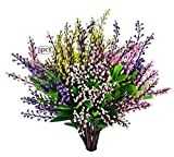 EDINSY Artificial Flowers Plants Vase Herbs Plastic Leaves Fake Bushes Greenery for Window Box Yard Indoor Garden Light Office Balcony Decoration Wedding Decor 8Pack (Mixtz)
