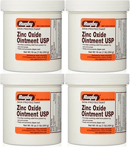 Zinc Oxide 20 % Skin Protectant Ointment for Diaper Rash, Chaffed Skin 1 Lb. Jar Pack of 4 Jars Total 4 Lb's (4) ()