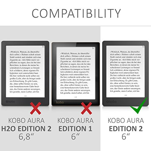 kwmobile Origami Case Compatible with Kobo Aura Edition 2 - Ultra Slim Fit PU Leather Cover with Stand - Black