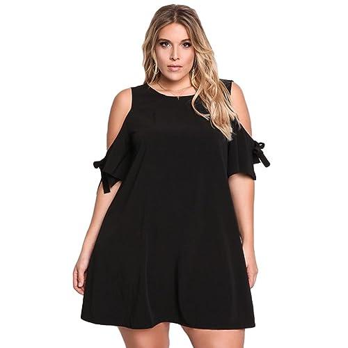 YAANCUN Donna Scollo Rotondo Vestiti Senza Spalline Abito Manica Corta Eleganti Sera Dress Plus Size