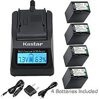 Kastar Ultra Fast Charger(3X faster) Kit and Battery (4-Pack) for Sony NP-FV100,CB-TRV,TRV-U and Sony DCR-SR15,SR21,SR68,SR88,SX21,SX45,SX63,SX65,SX85,FDR-AX100,HDR-CX105,CX130,CX155,CX160,CX190,CX200,CX260V,CX290,CX300,CX305,CX330,CX350V,CX360V,CX380,CX430V,CX550V,CX560V,CX580V,CX700V,CX760V,CX900,HC9,PJ10,PJ50,PJ200,PJ340,PJ380,PJ430V,PJ540,PJ580V,PJ650V,PJ710V,PJ760V,PJ790V,PJ810,TD10,TD20V,TD30V,XR155,XR160,XR260V,XR350V,XR550V,HXR-NX3D1U,NX30U,NX70U,NEX-VG10,VG30,VG30H,VG900,DEV-5,DEV-50
