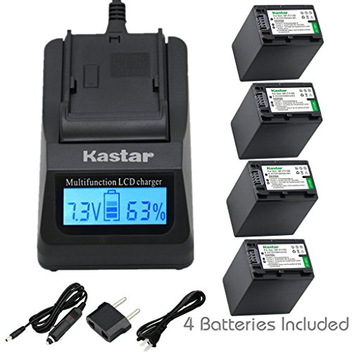 Kastar Ultra Fast Charger(3X faster) Kit and Battery (4-Pack) for Sony NP-FV100,CB-TRV,TRV-U and Sony DCR-SR15,SR21,SR68,SR88,SX21,SX45,SX63,SX65,SX85,FDR-AX100,HDR-CX105,CX130,CX155,CX160,CX190,CX200,CX260V,CX290,CX300,CX305,CX330,CX350V,CX360V,CX380,CX430V,CX550V,CX560V,CX580V,CX700V,CX760V,CX900,HC9,PJ10,PJ50,PJ200,PJ340,PJ380,PJ430V,PJ540,PJ580V,PJ650V,PJ710V,PJ760V,PJ790V,PJ810,TD10,TD20V,TD30V,XR155,XR160,XR260V,XR350V,XR550V,HXR-NX3D1U,NX30U,NX70U,NEX-VG10,VG30,VG30H,VG900,DEV-5,DEV-50 (Sony Hdr Cx900)