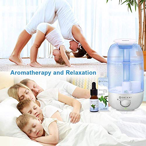 GENIANI Ultrasonic Cool Mist Aroma Humidifier with NIGHTLIGHT and Essential Oil Set - Best Aromatherapy Humidifiers for Bedroom/Living Room/Office and House | Quiet Operation, Safe for Baby - 2.4L