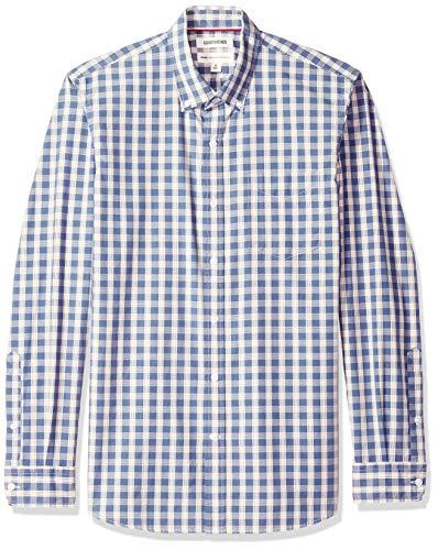 Goodthreads Men's Standard-Fit Long-Sleeve Plaid Poplin Shirt with Button-Down Collar, Indigo Check, Medium