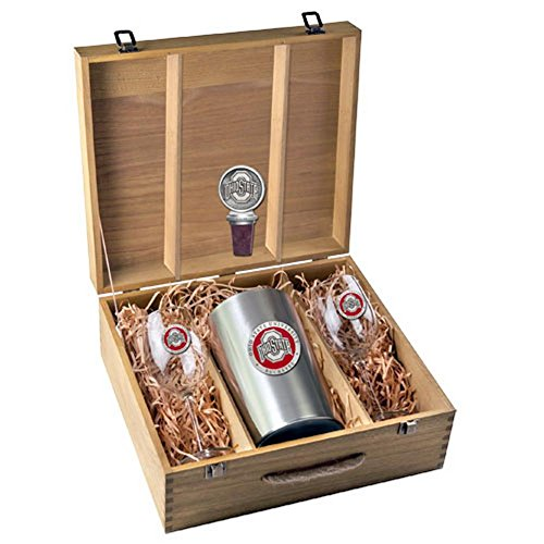 Ohio State University Buckeyes Wine Glasses Gift Set with Wine Stopper and Chiller by Heritage Pewter