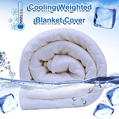 Cheap Cooling Duvet Cover for Weighted Blanket 48 x72 Dual Sided Cooling Ice Silk 100% Natural Cotton for Hot Summer Machine Washable Heavy Blanket Quilt Chill Cover for Hot Sleepers Fits Full Queen Black Friday & Cyber Monday 2019