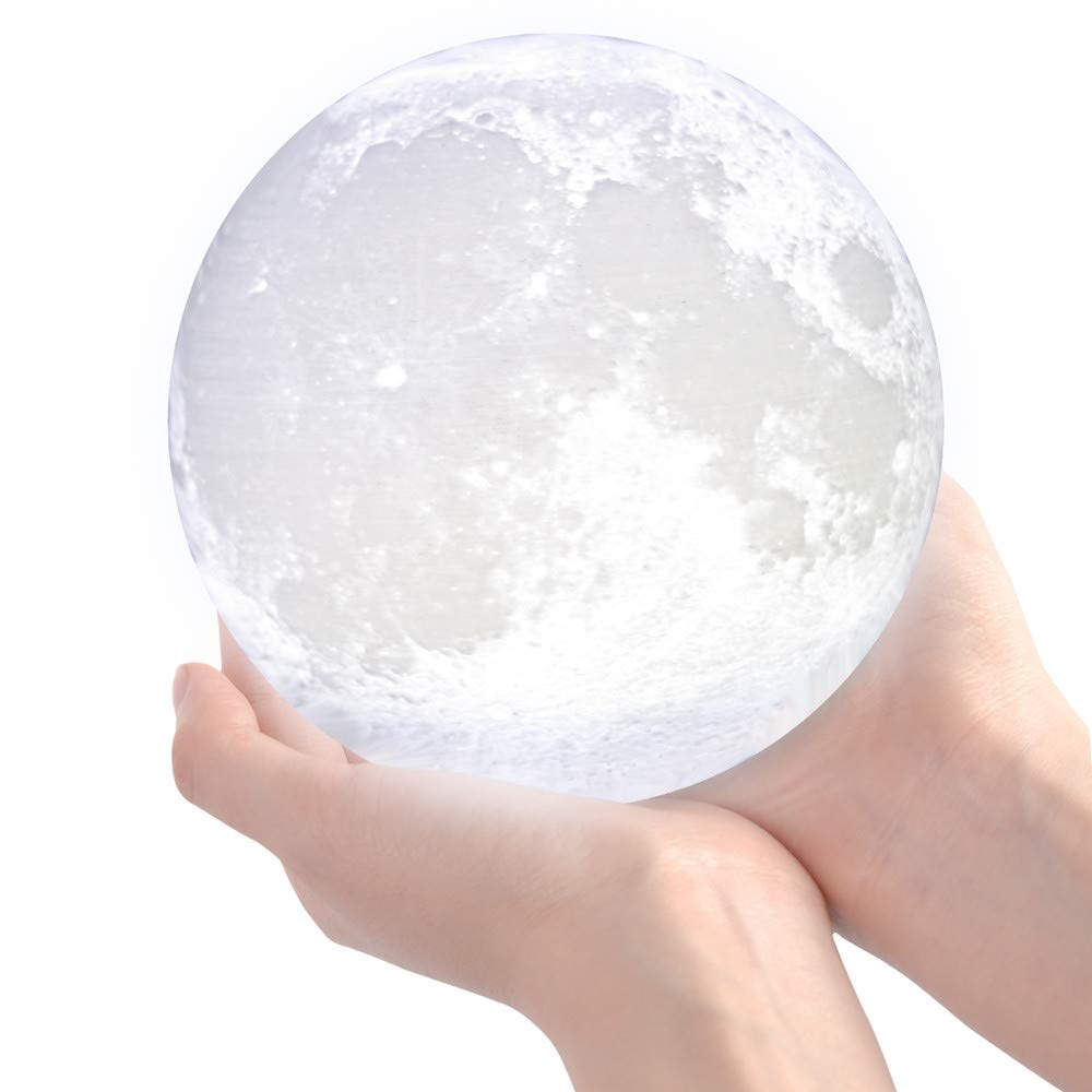 3D Moon Lamp, LED Moon Night Light with Stand, Flap Control and USB Recharge, Rechargeable Home Decorative Light, Warm White&Cool White&Yellow, for Baby Kids Lover Birthday Gifts (5.9''/15cm) by Garoma (Image #1)