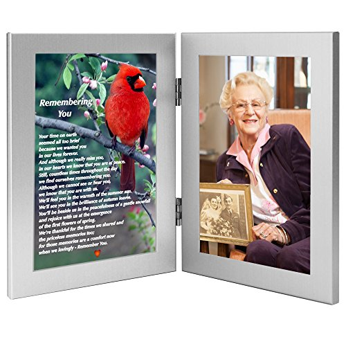 (Remembering You Memorial Photo Frame - Sympathy Gift The Loss Loved One - Funeral Gift That Will Become a Family Keepsake Beautiful Poem on Cardinal Print)