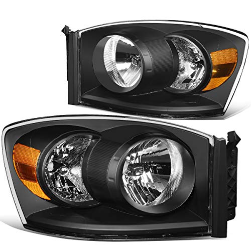 Pair Black Housng Clear Side Front Bumper Driving Headlight Lamps for 06-09 Dodge Ram Truck