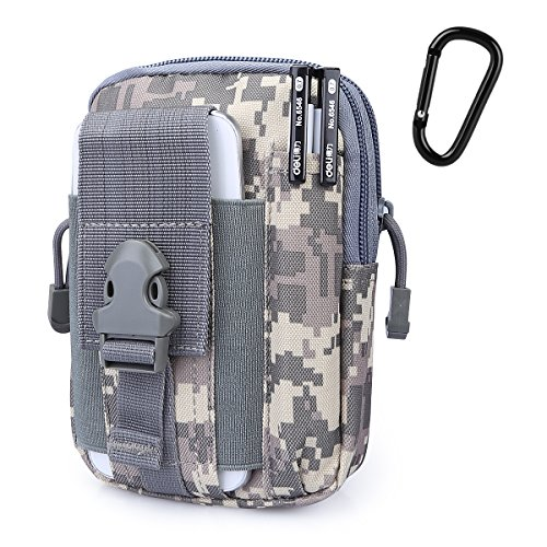 G4Free Tactical Molle Pouch Compact EDC Utility Gadget Waist Bag Pack with Cell Phone Holster for CCW Guns,iPhone 6 Plus(ACU)