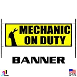 Mechanic On Duty Advertising Vinyl Banner Sign Auto Body Shop Car Repair Tools