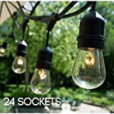 Image of S14 24 Bulbs Outdoor String Lights with 6 Extra Bulbs and 13 Ft Extension Cord, 48 Feet - Commercial Weatherproof Patio String Lights