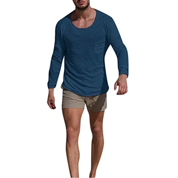Hombres Otoño Invierno O Cuello Largo Manga Delgada Informal Bolsillo Tops Blusa Camisas,Beikoard Mangas