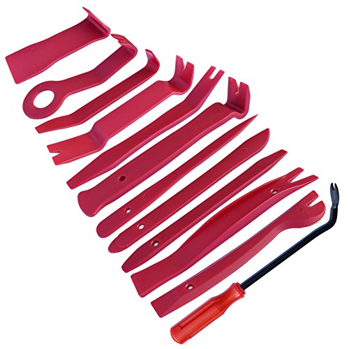 - homEdge Auto Trim Removal Kits of 12 Pcs, Tool Kits for Car Radio Installation, Upholstery Removal Kit Pry Bar Scraper Set-Red
