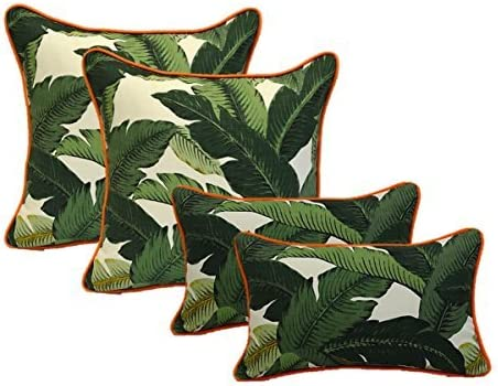Tommy Bahama Green Tropical Swaying Palms w// Pink Piping // Cording Zipper Cover /& Insert Set of 4 Indoor // Outdoor 20 Square Decorative Throw // Toss Pillows