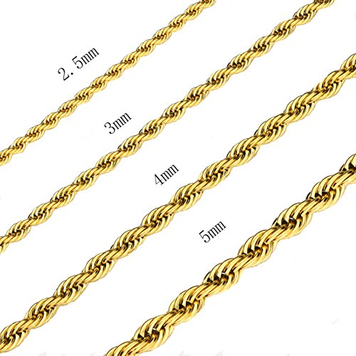 2.5MM 18 Inches Stainless Steel Twist Rope Chain Necklace Mens Womens Necklace Jewelry