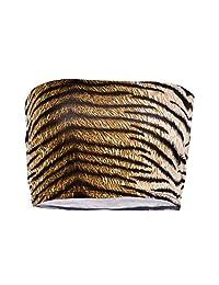 2 Pieces Summer Women Sexy Strapless Shirt Lingerie Bandeau Top Crop Top Bustier Leopard Print Off Shoulder Tube Top Open Back (Color : Brown, Size : S)