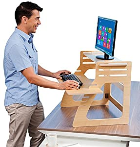 Well Desk Adjustable Standing Desk Riser - Simple and Solid Stand Up Desk Converter - Made in the USA of Premium Birch Plywood - Relieve Back Pain and Improve Productivity