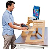 Adjustable Standing Desk Instantly Converts Any Desk to a Stand Up Desk - Relieves Back Pain - Made in USA of Premium Birch Plywood - Height Converter / Riser for Keyboard, Monitor, Computer, Laptop