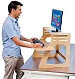 Well Desk Adjustable Standing Desk Riser - Simple and Solid Stand Up Desk Converter - Made in the USA of...