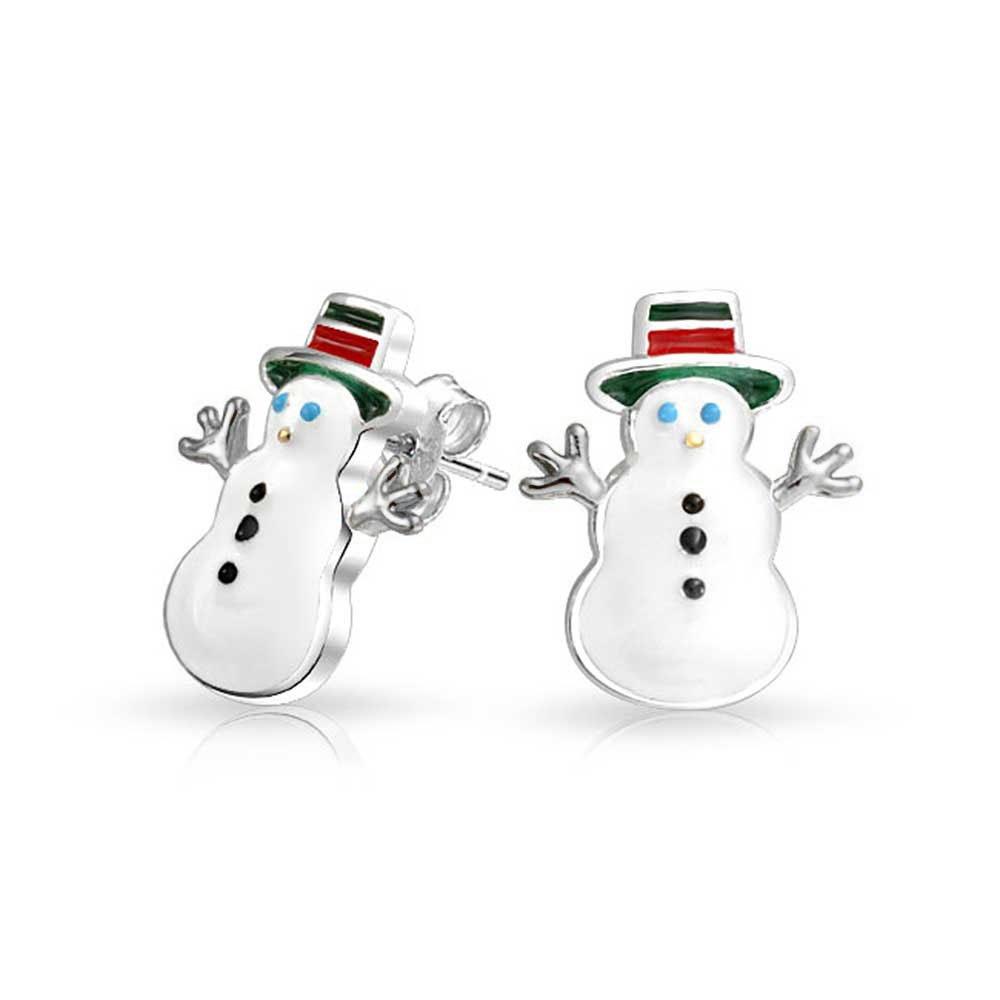 Bling Jewelry White Green Red Enamel Snowman 925 Silver Kids Stud Earrings PFS-12-5919