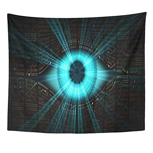 Emvency Tapestry Artwork Wall Hanging Big Brother Electronic Eye Technologies for The Global Surveillance Security 50x60 Inches Tapestries Mattress Tablecloth Curtain Home Decor Print
